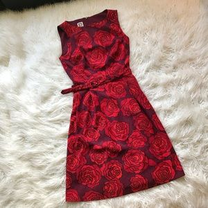 ANNE KLEIN RED PURPLE BELTED ROSE DRESS